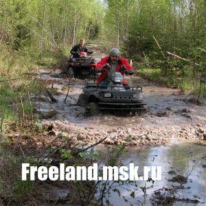 Driving on ATV Polaris Sportsman in